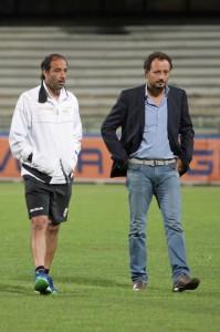 L'allenatore del Messina Catalano al fianco del direttore sportivo peloritano Fabrizio Ferrigno