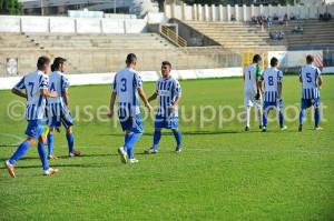 I calciatori dell'Akragas, vittorioso a Reggio ed adesso di nuovo a ridosso del Savoia capolista.
