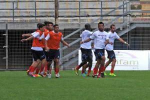 """I calciatori del Città di Messina impegnati in una seduta di allenamento al """"Celeste"""""""