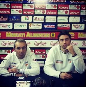 L'ass. coach della Sigma Barcellona Ugo Ducarello e Demian Filloy in conferenza stampa