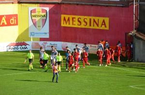 L'ingresso in campo del Città di Messina, al secondo impegno casalingo consecutivo