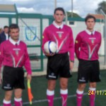 La terna arbitrale: il primo assistente Raimondo, l'arbitro Riccobono e il secondo assistente Alesci