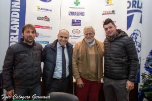Il tecnico Raffaele, il presidente Romagnoli, il neo direttore generale Agnolin, e il direttore sportivo Marco Cirillo