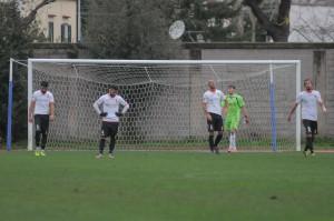 La delusione dei giocatori del Messina dopo l'1-1 (foto Paolo Furrer)