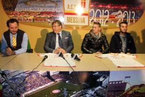 Il ds Ferrigno, il patron Lo Monaco ed i due nuovi giallorossi in conferenza stampa  (foto Paolo Furrer)