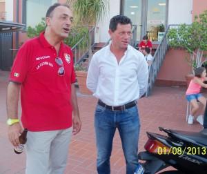 L'allenatore del Pistunina Nello Miano e il presidente Salvatore Velardo (scatto di R.S.)