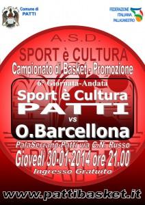 La locandina della sfida tra Sport Patti e Orsa Barcellona