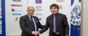 Il presidente della NFC Orlandina Massimo Romagnoli con il neotecnico Angelo Galfano