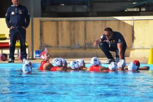 Un time-out della WP Despar Messina (foto Omar Menolascina)