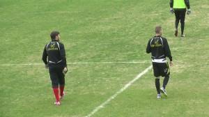 Lagomarsini e Caturano nel corso dell'allenamento al San Filippo (foto Matteo Arrigo)