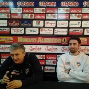 Il coach della Sigma Barcellona Marco Calvani  e Demian Filloy in conferenza stampa