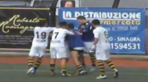 Tiger - Igea Virtus, l'esultanza dopo il terzo gol dei gialloneri