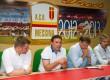 L'amministratore delegato del Messina Alessandro Failla in conferenza stampa con i Lo Monaco