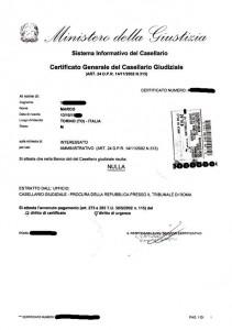 Un certificato giudiziario