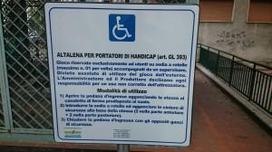 Il cartello con le modalità d'utilizzo dell'altalena per portatori di handicap