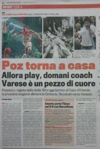 """La pagina odierna del 7 maggio 2014 della """"Gazzetta dello Sport"""" con il rumor del ritorno di Pozzecco a Varese"""