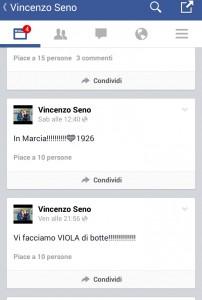 Un fermo immagine relativo al profilo Facebook di Vincenzo Seno, diffuso dal Due Torri