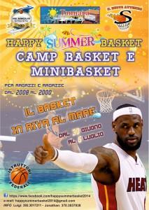 La locandina dell'Happy Summer Basket 2014, camp del Nuovo Avvenire Spadafora e degli Svincolati