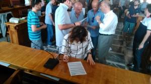 Maria Teresa Collica ha firmato il modulo d'adesione al Bar Basket Trust