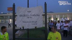 La targa con cui è stata intitolata a Graziella Campagna la piazza di Villafranca Tirrena