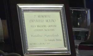 La targa premio del 2° Memorial Molino