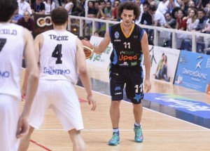 Marco Portannese in azione nella finale promozione contro Trento