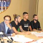 Il presidente Torrisi e gli altri neo-acquisti Nigro, Izzillo e Benvenga (foto Paolo Furrer)