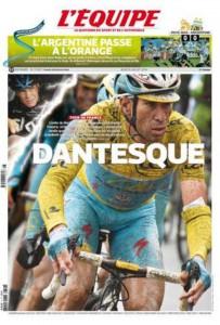 La copertina dell'Equipe dedicata a Vincenzo Nibali