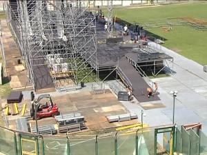 Il palco che nell'estate 2010 venne realizzato sotto la Curva Sud, per ospitare l'esibizione di Ligabue