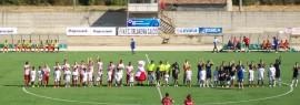 Orlandina e Due Torri prima del calcio d inizio della sfida di Coppa Italia