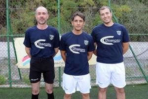 Da sinistra il preparatore dei portieri Domenico Barresi, l'allenatore Michele Lucà e il preparatore atletico Carmelo Bonarrigo