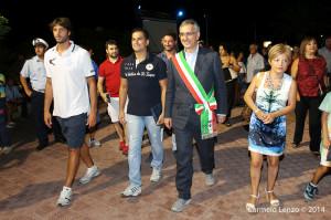 """Il primo cittadino gioiosano Spinella guida la Sidoti, Valdesi e Basile verso la """"Walk of fame"""" (Carmelo Lenzo)"""