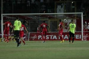 Il gol partita di Floriano: il pallone si insacca sotto l'incrocio, lì dove Lagomarsini non può proprio arrivare