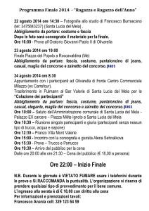 """Il programma dettagliato della finale di """"Ragazza e Ragazzo dell'Anno 2014"""""""