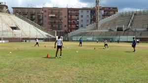 """Una seduta di allenamento del Messina al """"Celeste"""""""