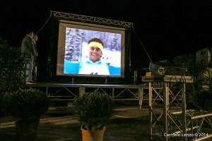 La proiezione di un filmato sulle imprese del campione bolognese