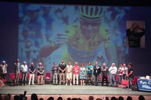Giacoppo sul palco del Vittorio Emanuele per l'evento dedicato a Nibali (Roberto Lembo)