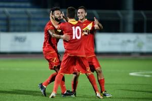 L'esultanza dei giallorossi per il primo gol stagionale (foto Matteo Papini-Paolo Furrer)