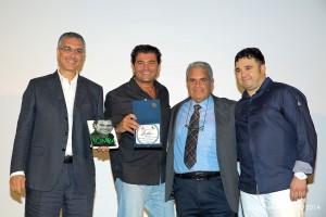 Il sindaco di Gioiosa Eduardo Spinella, Alberto Tomba, il presidente provinciale del CONI Aldo Violato, e il promotore dell'evento Francesco Marino