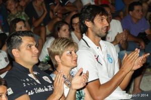 Valdesi, Sidoti, e Basile tra il pubblico durante la presentazione dei video celebrativi delle loro imprese