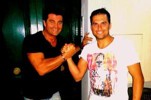 Il karateka Luca Valdesi con Alberto Tomba, per entrambi una mattonella nella Walk of fame dei campioni di Gioiosa Marea