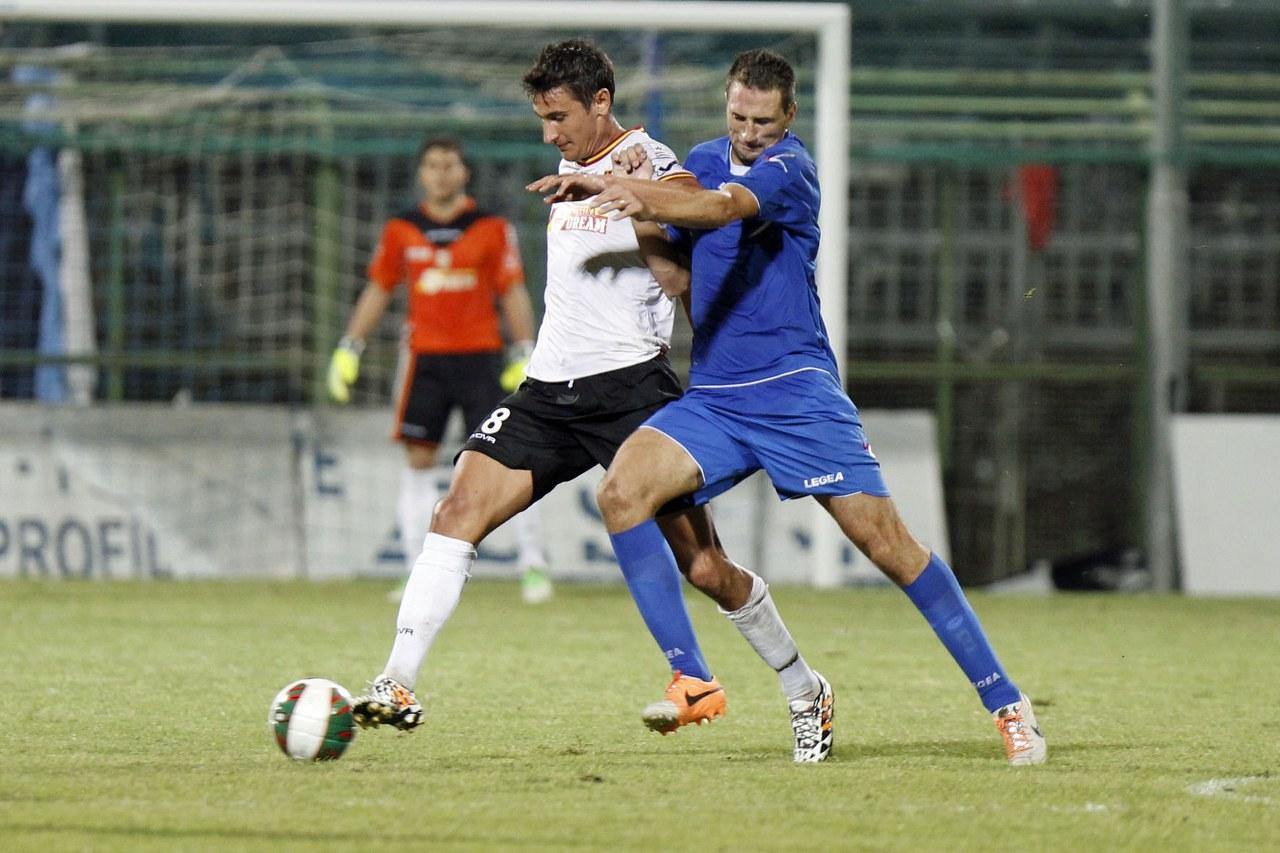 Damonte in azione nel corso del match di andata a Pagani, coinciso con l'unica affermazione della gestione Cuoghi