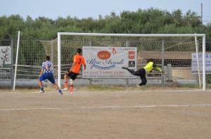 Il gol di Biondo per il vantaggio del Rocca di Caprileone