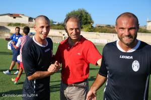 Campagna, il tecnico del Due Torri Venuto e Di Gregorio al termine del derby di Coppa a Capo d'Orlando (foto Carmelo Lenzo)