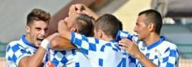 L'esultanza dei giocatori del Rocca di Capri Leone