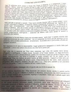 comunicato stampa tifosi Matera
