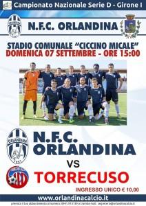 Locandina Orlandina-Torrecuso, match della prima giornata della stagione 2014/15 di Serie D