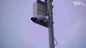 Una delle nuove telecamere per la videosorveglianza installate presso lo stadio San Filippo