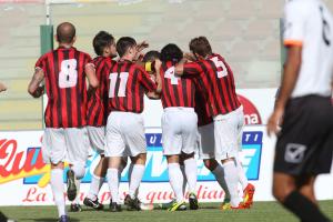 I giocatori del Foggia festeggiano