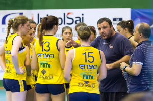 Un time-out del Messina Volley